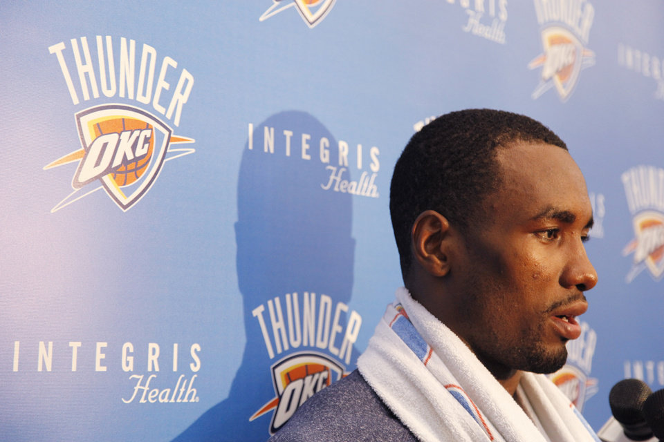 Serge Ibaka talks with the media after the Thunder practice Sunday, June 10, 2012. Photo by Doug Hoke, The Oklahoman