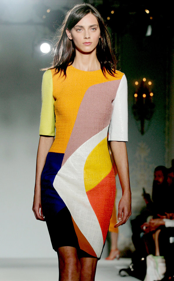 Photo -   A model on the catwalk during the Roksanda Ilincic spring/summer 2013 London Fashion Week show, at the Savoy Hotel in central London Tuesday Sept. 18, 2012.(AP Photo/ Yui Mok/PA) UNITED KINGDOM OUT NO SALES NO ARCHIVE