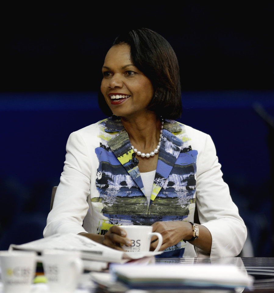 Photo -   Former Secretary of State Condoleezza Rice sits down for a television interview on the floor of the Republican National Convention in Tampa, Fla., Wednesday, Aug. 29, 2012. (AP Photo/David Goldman)