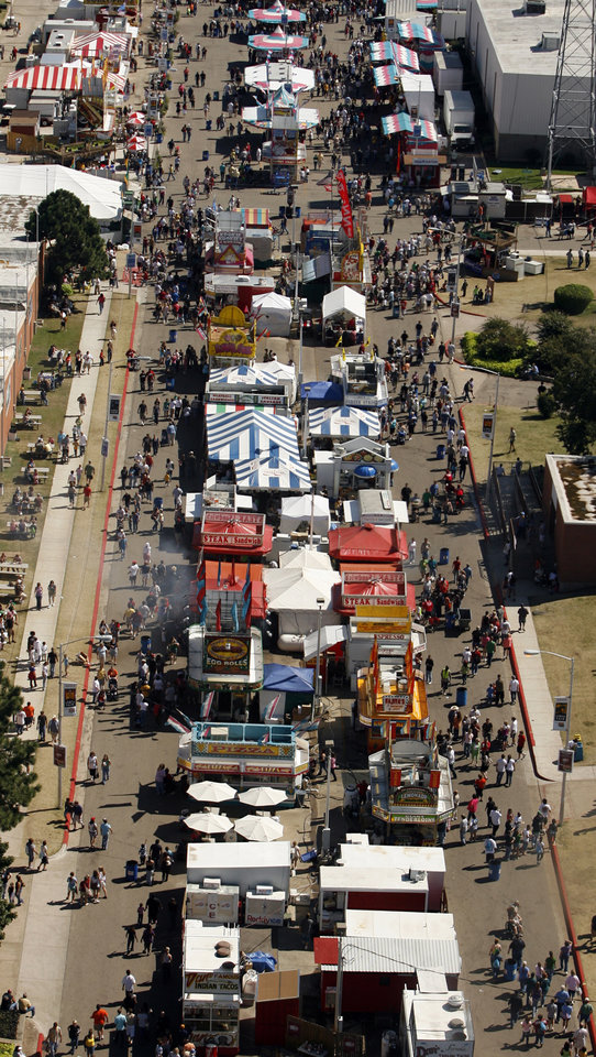 Photo - Crowds fill the midway on a warm sunny afternoon at the Oklahoma State Fair on Saturday, Sept. 26, 2009 in Oklahoma City, Okla.  The view is from inside the OGE wind tower ride.  Photo by Steve Sisney, The Oklahoman. ORG XMIT: KOD
