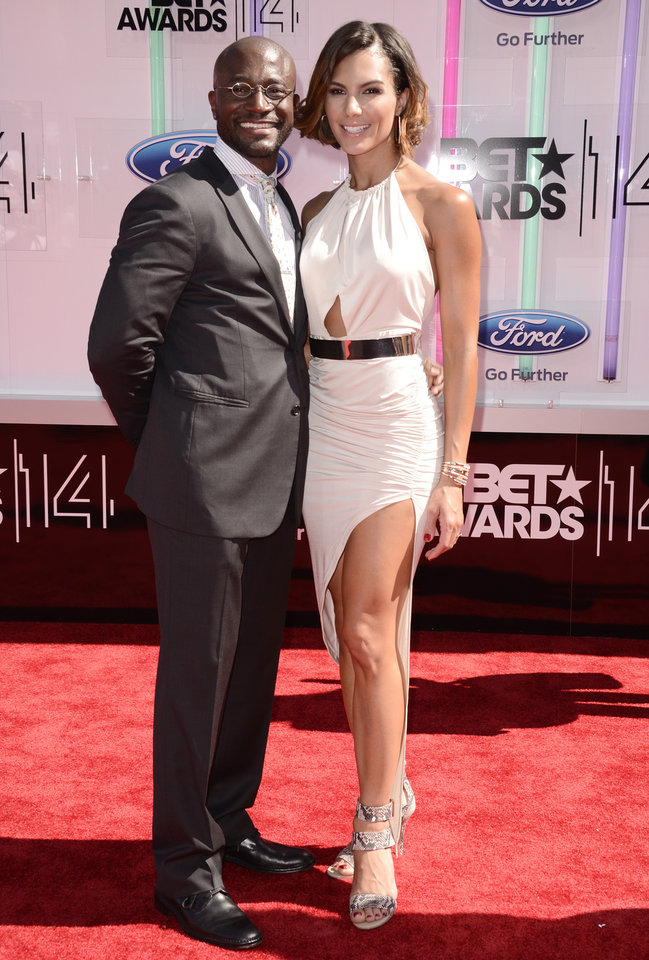 Photo - Taye Diggs, left, and Amanza Smith Brown arrive at the BET Awards at the Nokia Theatre on Sunday, June 29, 2014, in Los Angeles. (Photo by Dan Steinberg/Invision/AP)