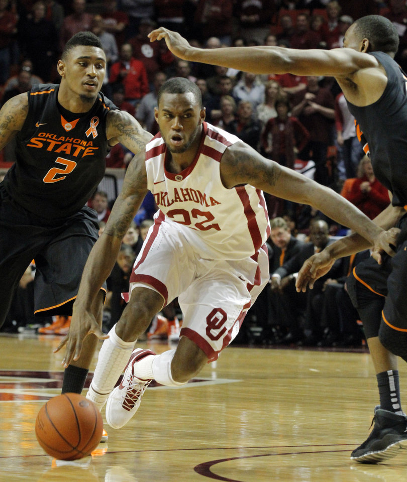 Sooner\'s Amath M\'Baye (22) drives during the second half as the University of Oklahoma Sooners (OU) defeat the Oklahoma State Cowboys (OSU) 77-68 in NCAA, men\'s college basketball at The Lloyd Noble Center on Saturday, Jan. 12, 2013 in Norman, Okla. Photo by Steve Sisney, The Oklahoman