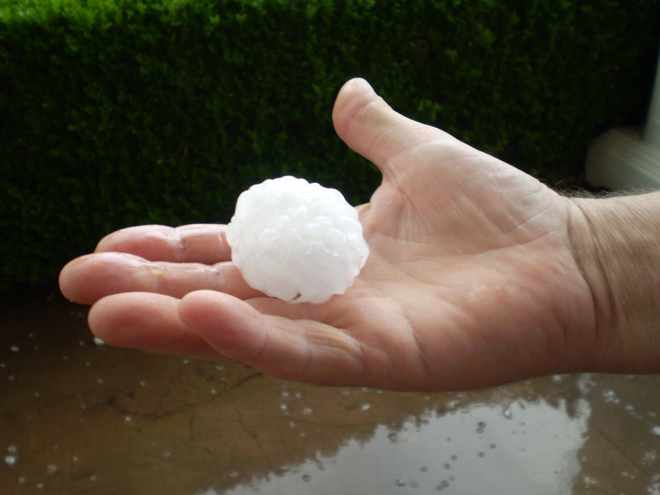 Wes holding hail in his hand<br/><b>Community Photo By:</b> Tonua Hulette<br/><b>Submitted By:</b> Tonua, Midwest City
