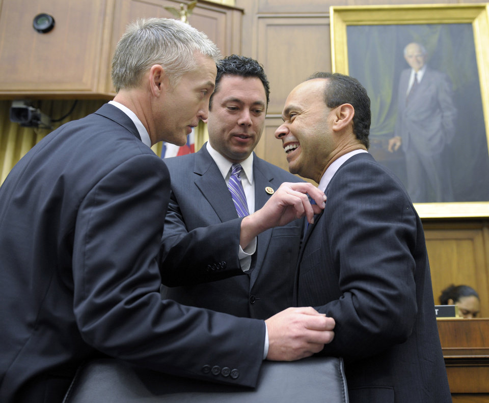 "FILE- In this Feb. 5, 2013, file photo House Judiciary Committee member Rep. Jason Chaffetz, R-Utah, center, Rep. Luis Gutierrez, D-Ill., right, and Rep. Trey Gowdy, R-S.C., share a laugh prior to their committee hearing on immigration reform on Capitol Hill in Washington. The question central to immigration legislation is whether the 11 million immigrants already in the US illegally should get a path to citizenship. The answer from a small but growing number of House Republicans is ""yes"". But but not a ""special"" path to citizenship, says Chaffetz. ""But there has to be a legal, lawful way to go through this process that works, and right now it doesn't."" (AP Photo/Susan Walsh, File)"