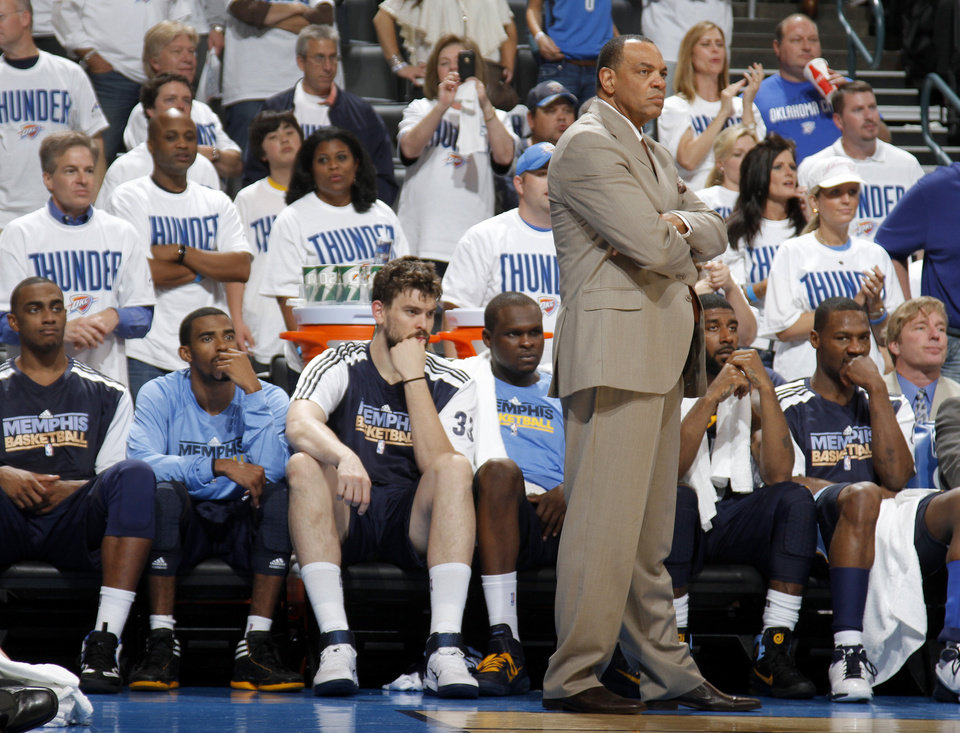 Memphis coach Lionel Hollins watches during the final minutes of game five of the Western Conference semifinals between the Memphis Grizzlies and the Oklahoma City Thunder in the NBA basketball playoffs at Oklahoma City Arena in Oklahoma City, Wednesday, May 11, 2011. Photo by Bryan Terry, The Oklahoman