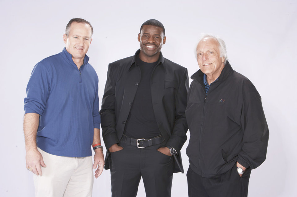 "Former Cowboys star receiver Michael Irvin, center, hosts Spike TV's ""4th and Long,"" which debuts at 9 p.m. Monday. He is assisted by coaches Bill Bates, left, and Joe Avezzano. PHOTO PROVIDED"