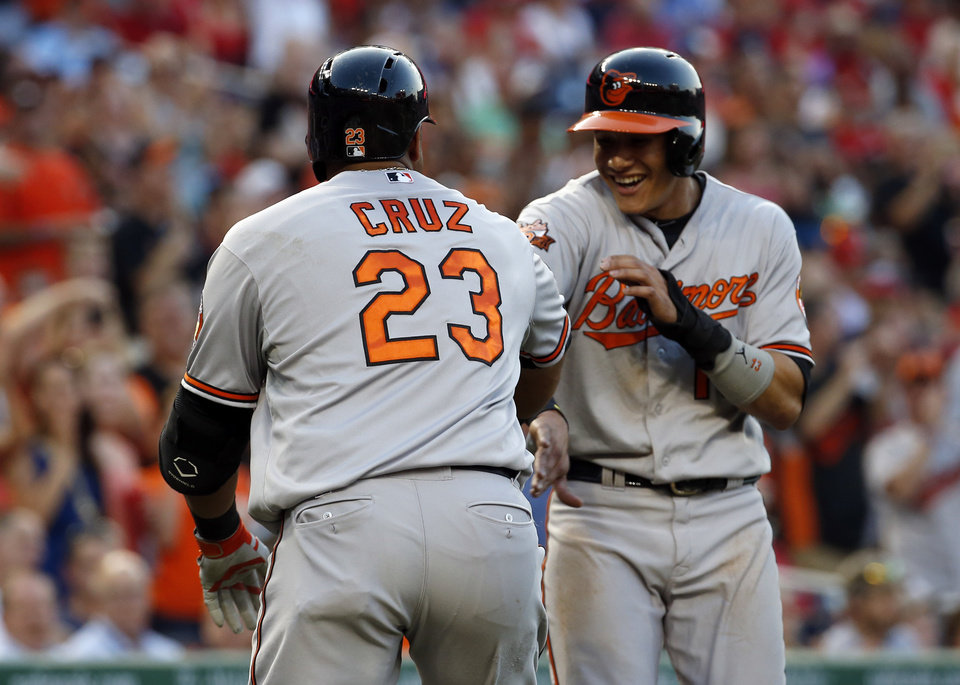 Photo - Baltimore Orioles' Nelson Cruz (23) celebrates knocking in Manny Machado, for a two-run homer during the fourth inning of an interleague baseball game against the Washington Nationals at Nationals Park, Monday, July 7, 2014, in Washington. (AP Photo/Alex Brandon)