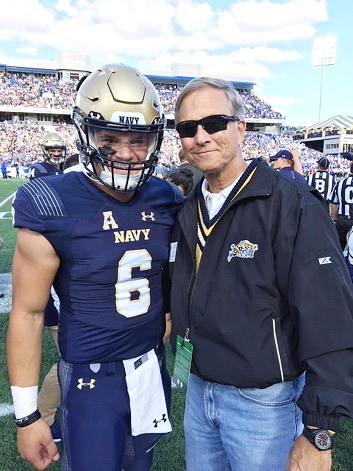 Photo - Midshipman Perry Olsen and Greg Slavonic. U.S. NAVY PHOTO BY LT. SAMUEL R. BOYLE
