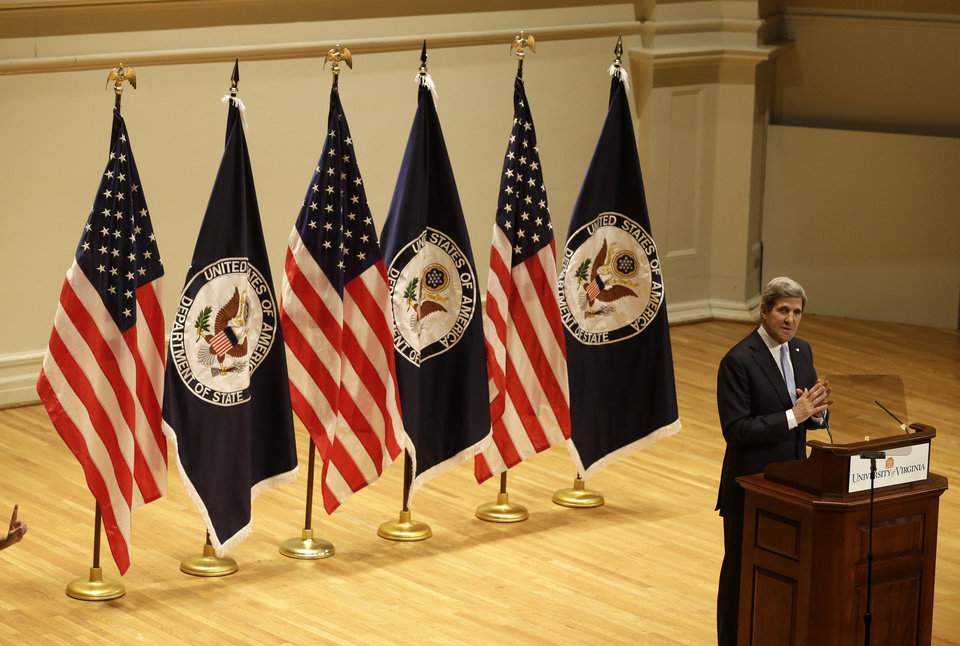 Secretary of State John Kerry gestures as he delivers his first foreign policy speech, Wednesday, Feb. 20, 2013, in Old Cabel Hall at the University of Virginia in Charlottesville, Va.   (AP Photo/Steve Helber)