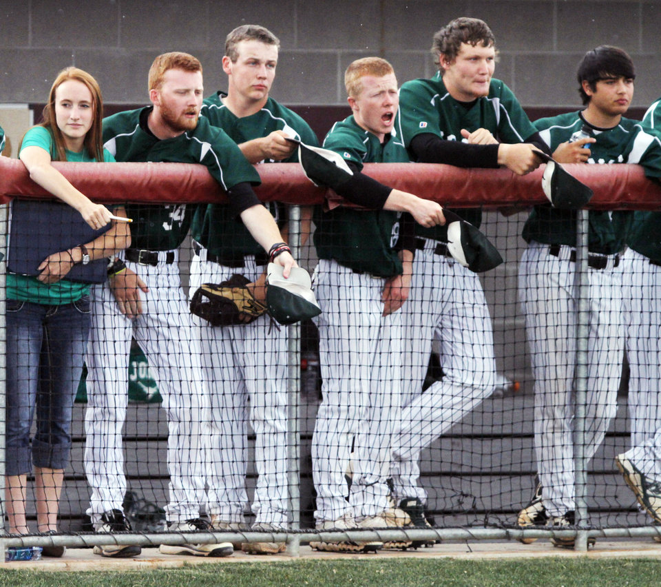 Photo - The Jones bench attempts to distract the opposition pitcher during a Class 3A baseball state game between Jones and Kansas at Edmond Memorial High School, Thursday, May 15, 2014, in Edmond. Photo by KT King, For The Oklahoman