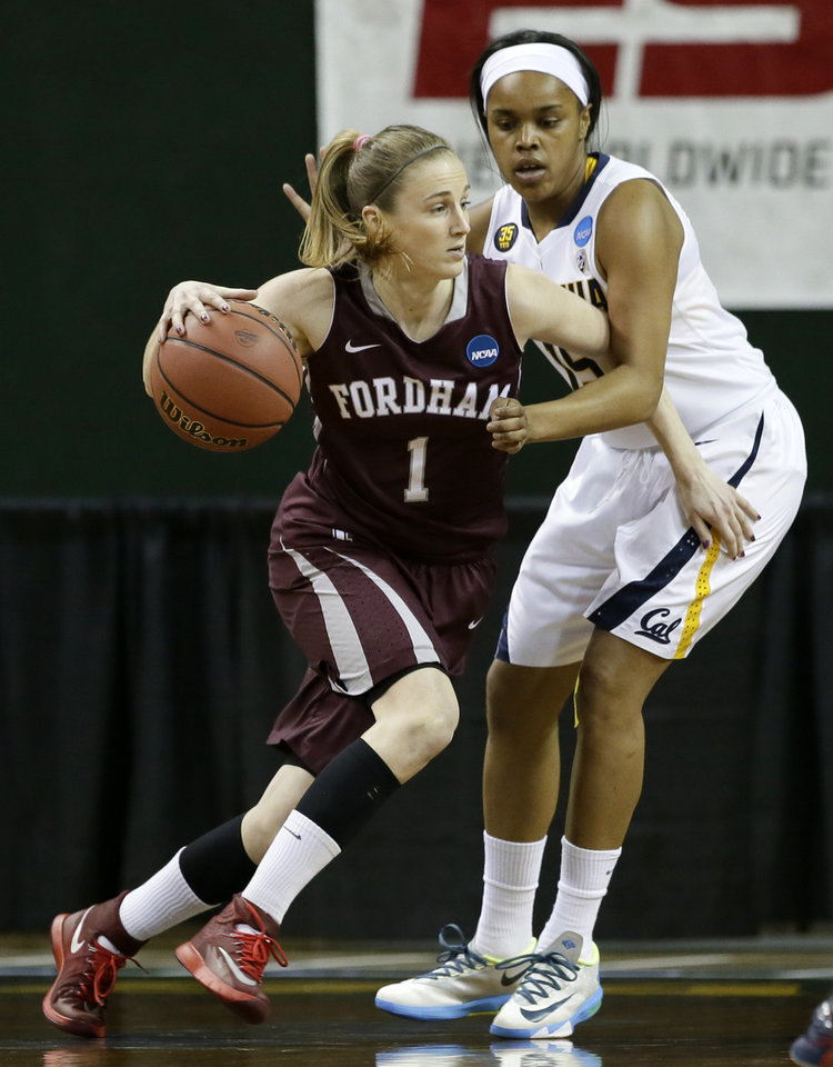 Photo - Fordham's Erin Rooney (1) drives against California's Brittany Boyd, right, in the first half of a first-round game in the NCAA women's college basketball tournament, Saturday, March 22, 2014, in Waco, Texas. (AP Photo/Tony Gutierrez)