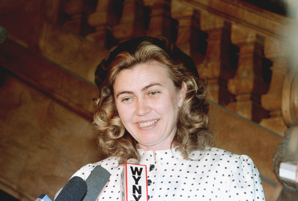 FILE - Barbara Piasecka Johnson is shown leaving court following a settlement after a 16-week battle over her late husband's $500 million estate in New York City, in this June 3, 1986 file photo. The family of Barbara Piasecka Johnson, a Polish farmer's daughter who worked as a maid for an American heir to the Johnson & Johnson fortune before marrying him and eventually inheriting much of his wealth, says she died Monday April 1, 2013 . She was 76. The family announced Johnson's death Thursday in Rzeczpospolita, a daily paper.  (AP Photo/David Bookstaver, File)