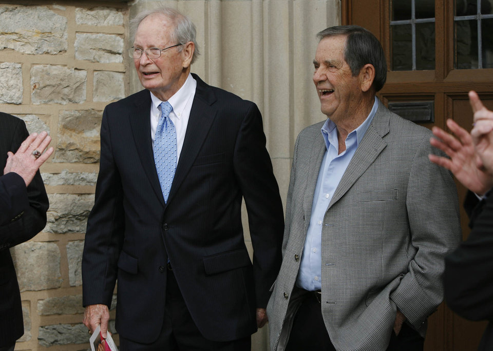 Photo - Former Kansas and ORU basketball coach Ted Owen (left) and former TU and ORU men's basketball coach Ken Hayes chat with other mourners outside First United Methodist Church in Tulsa, Okla., on January 11,2013, prior to the funeral of Former OSU men's basketball head coach Eddie Sutton's wife Patsy Sutton. JAMES GIBBARD/Tulsa World ORG XMIT: DTI1301111625559734