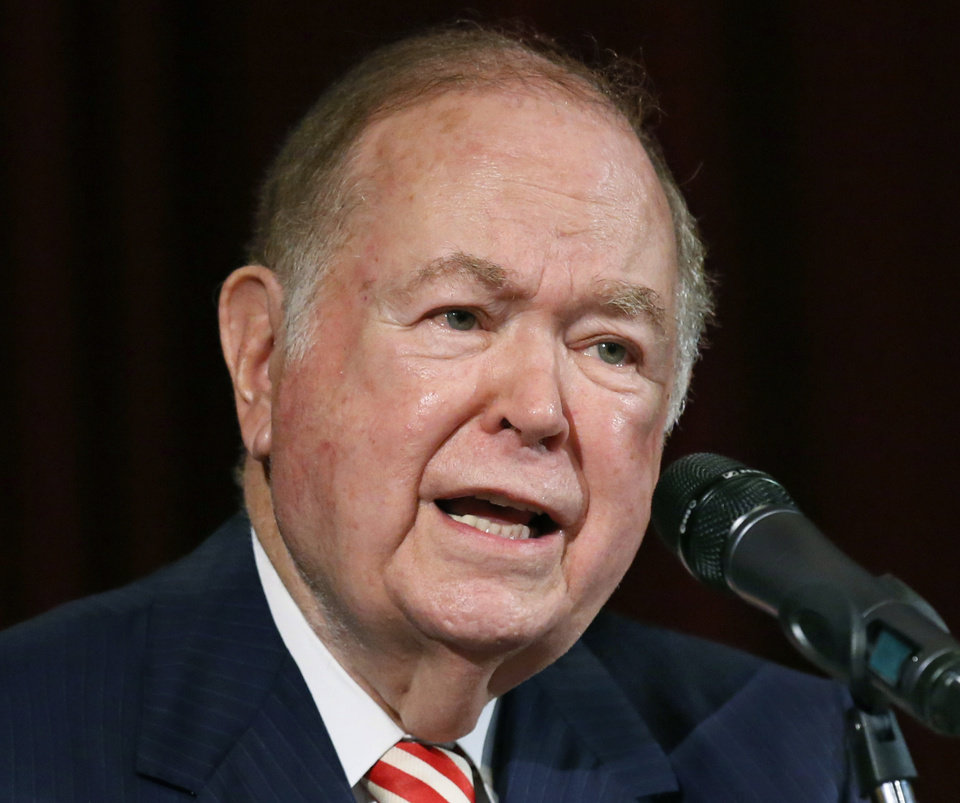 Photo - FILE - In this Sept. 20, 2017, file photo, then University of Oklahoma President David Boren, a former Democratic governor and U.S. senator, speaks at a news conference in Norman, Okla. Joseph Harroz Jr. has been named the University of Oklahoma's interim president following the sudden resignation of James L. Gallogly, who'd served less than a year in that role after taking over for longtime former president Boren. (AP Photo/Sue Ogrocki, File)