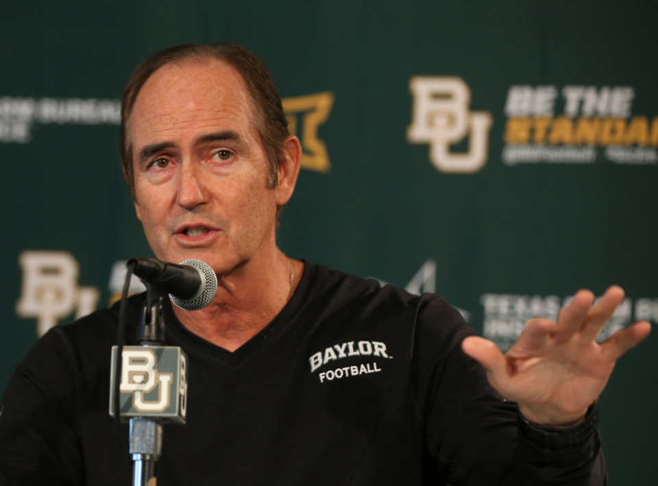 Baylor head football coach Art Briles talks with the media during a press conference, Monday, Aug. 25, 2014, in Waco, Texas. Baylor will face SMU Sunday during their season opener at their new McLane stadium. (AP Photo/Waco Tribune Herald, Rod Aydelotte)