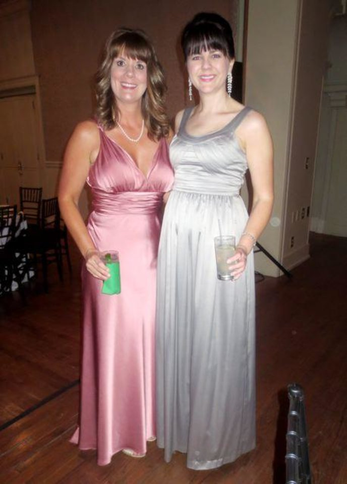 Becky Howell and Adrienne Nobles were members of the Junior League board of directors and attended the party. (Photo by Helen Ford Wallace).
