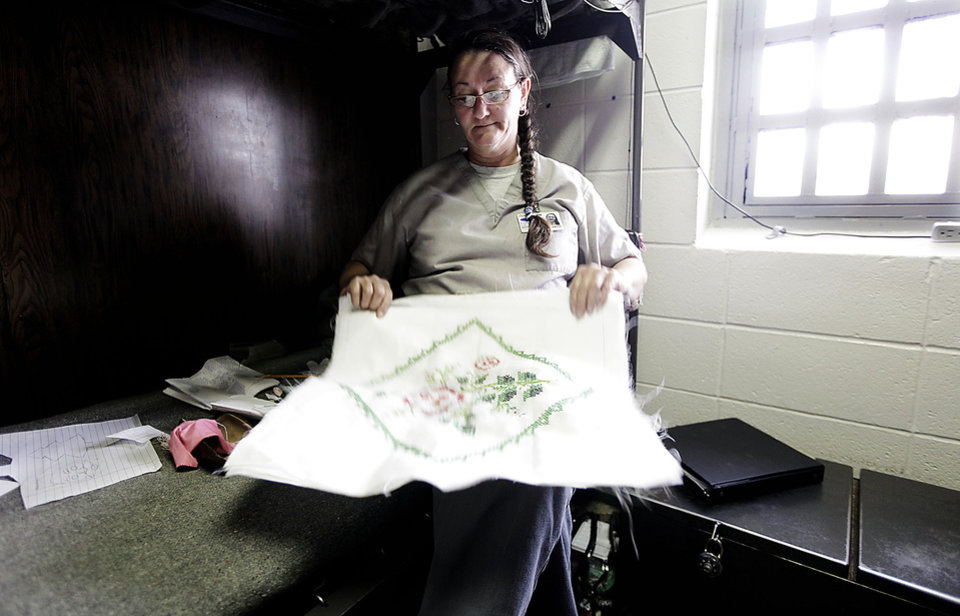 Alma Steele works on a needlepoint project at Eddie Warrior Correctional Center Dec. 1, 2010. MIKE SIMONS/Tulsa World