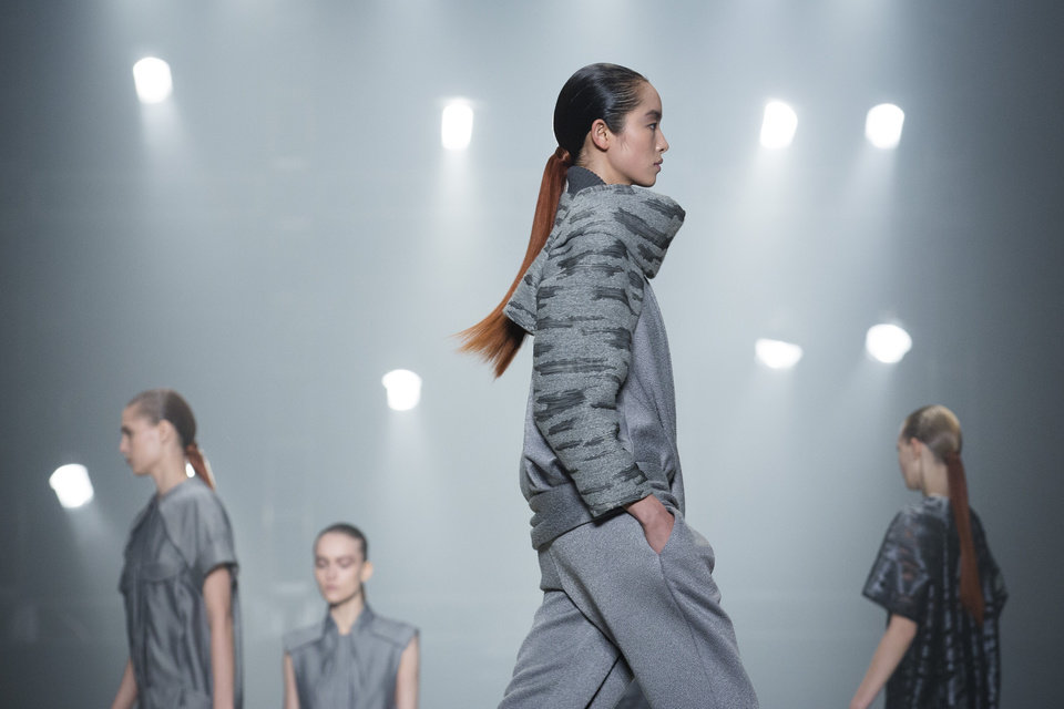 A model walks the runway during the Alexander Wang Fall 2013 fashion show during Fashion Week, Saturday, Feb. 9, 2013, in New York. (AP Photo/John Minchillo)