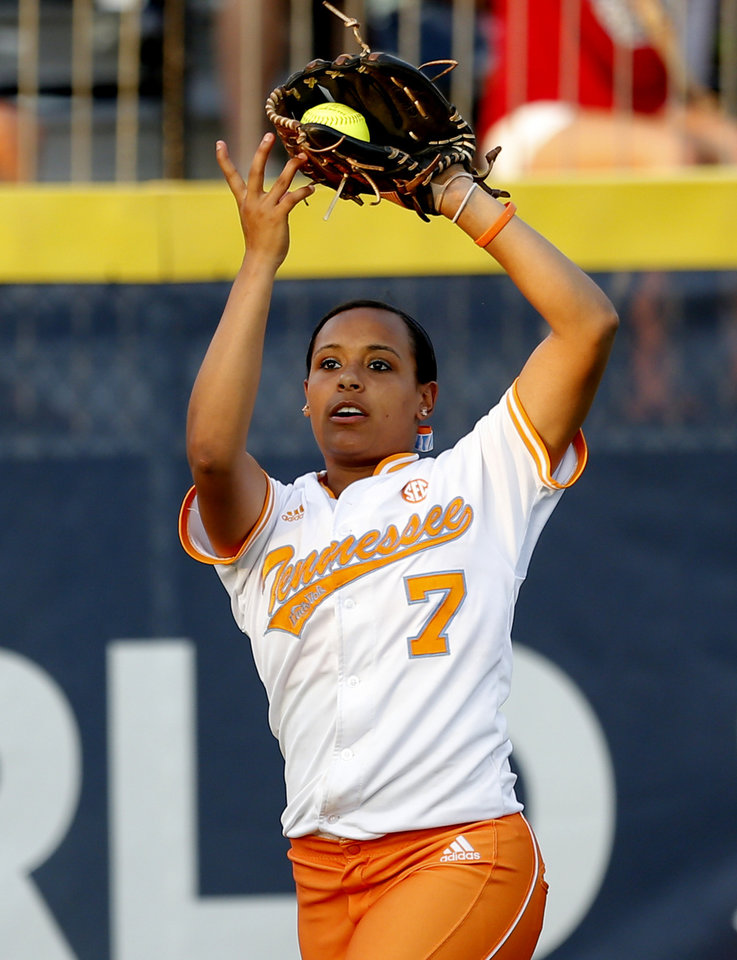 Tennessee's Tory Lewis (7) makes a catch during Women's College World Series softball game between Oklahoma and Tennessee at ASA Hall of Fame Stadium in Oklahoma City,Tuesday, June, 4, 2013. Photo by Sarah Phipps, The Oklahoman