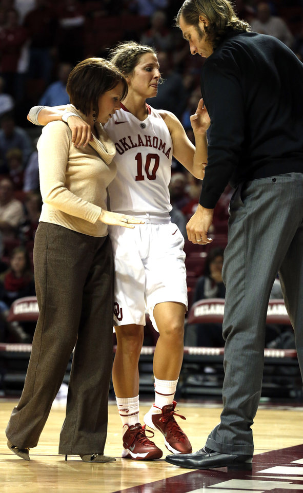 Photo - Morgan Hook (10) leaves the game with an injury in the second half as the University of Oklahoma Sooners (OU) defeat the Gonzaga Bulldogs 82-78 in NCAA, women's college basketball at The Lloyd Noble Center on Thursday, Nov. 14, 2013  in Norman, Okla. Photo by Steve Sisney, The Oklahoman