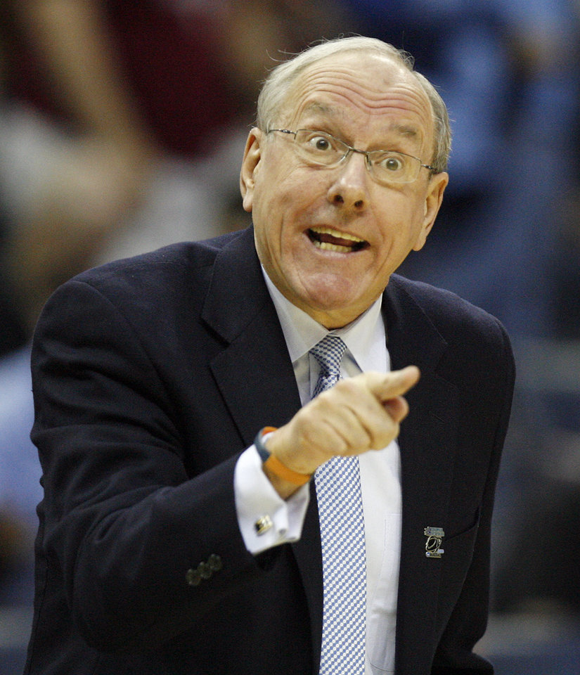 Syracuse coach Jim Boeheim yells at his team as they take on Oklahoma during the first half of the NCAA Men\'s Basketball Regional at the FedEx Forum on Friday, March 27, 2009, in Memphis, Tenn. PHOTO BY CHRIS LANDSBERGER, THE OKLAHOMAN