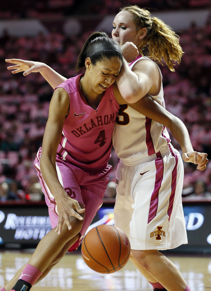 Oklahoma's Nicole Griffin (4) collides with Iowa State's Chelsea Poppens (33) during an NCAA women's basketball game between the University of Oklahoma (OU) and Iowa State at the Lloyd Noble Center in Norman, Okla., Thursday, Feb. 14, 2013. Iowa State won, 72-68. Photo by Nate Billings, The Oklahoman