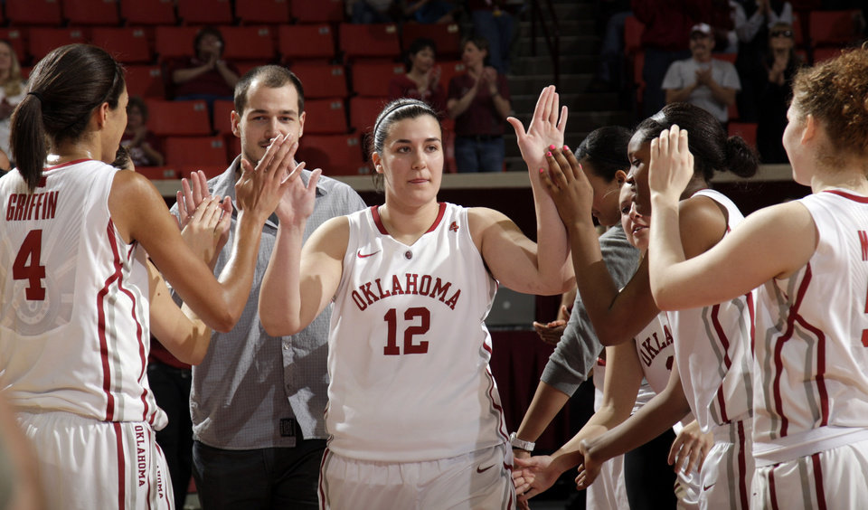 Oklahoma's Jelena Cerina (12) is introduced during senior day following the women's college basketball game between the Oklahoma Sooners and the Kansas Jayhawks at the LLoyd Noble Center in Norman, Okla., Sunday, March, 4, 2011. Photo by Sarah Phipps, The Oklahoman