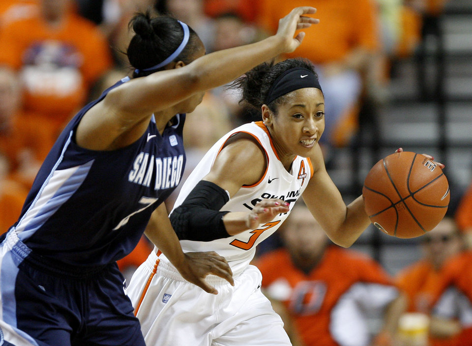 Oklahoma State's Tiffany Bias (3) tries to get past San Diego's Dominique Conners (2) during the women's NIT semifinal college basketball game between Oklahoma State University (OSU) and San Diego at Gallagher-Iba Arena in Stillwater, Okla., Wednesday, March 28, 2012. Photo by Bryan Terry, The Oklahoman