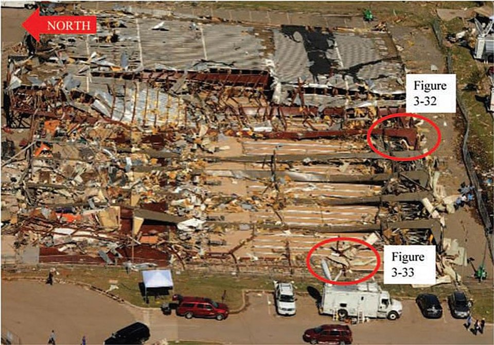 Photo -  An aerial view of the damage to Moore Lanes bowling alley after the May 20, 2013, tornado. The image is overlaid with notes from the American Society of Civil Engineers report