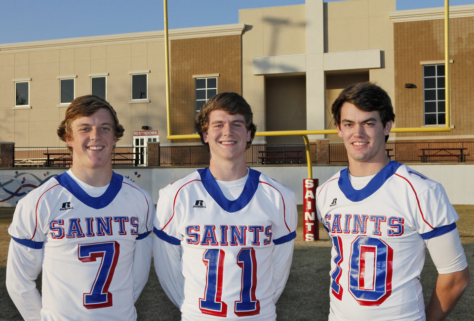 Oklahoma Christian School�s Blake Barnes, left, Garrett Killborn and Austin Brooks, right, have been instrumental in the Saints� offense this season.  Photo By David McDaniel, The Oklahoman
