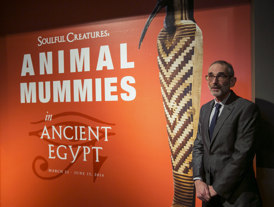 Photo - In this March 20, 2014 photo, Brooklyn Museum, Egyptian, Classical and Ancient Middle Eastern Art, curator, Edward Bleiberg tours the exhibit