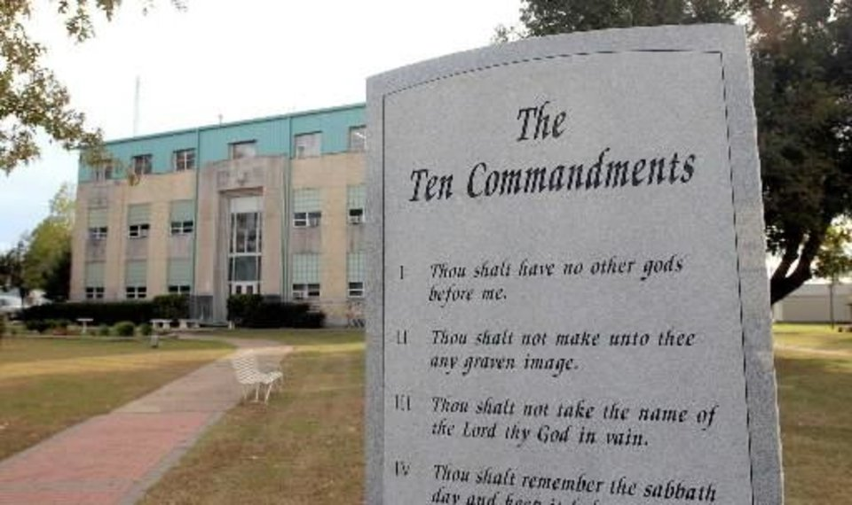 The Ten Commandments monument on the lawn of the  Haskell  County  Courthouse in  Stigler, Oklahoma on Monday, November 8, 2004. (DAVID CRENSHAW/Tulsa World)