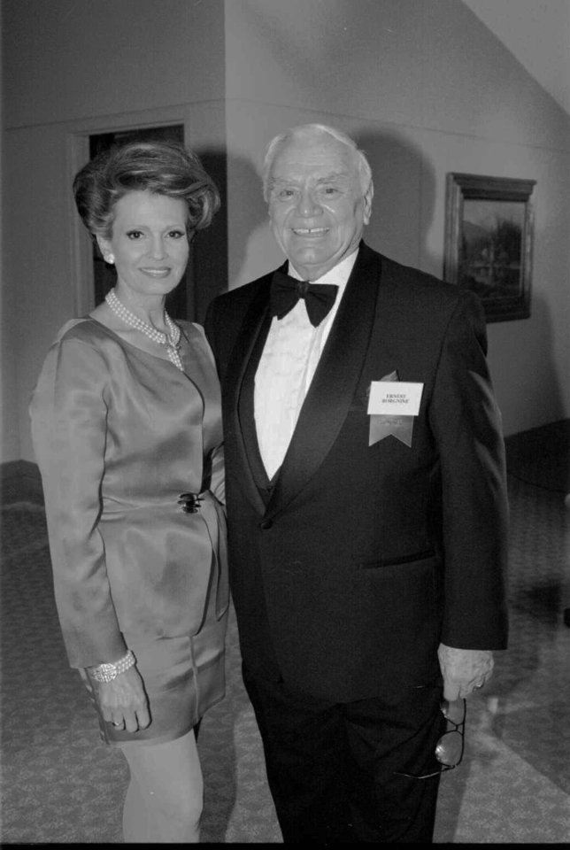 Photo - Hall of Great Western Performers honoree Ernest Borgnine & wife, Tova at the 35th Annual Western Heritage Awards at the Cowboy Hall of Fame.