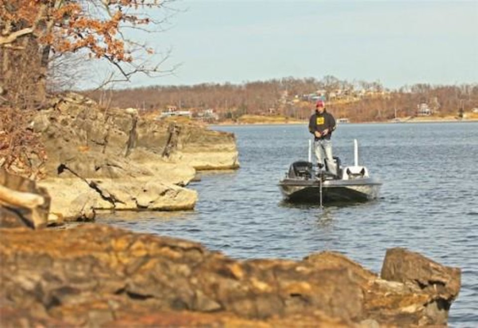 Anglers in the Bassmaster Classic on Grand Lake this week will struggle to find aquatic vegetation. Instead, they will find 1,300 miles of rocky shoreline to fish. Photo by Alan McGuckin