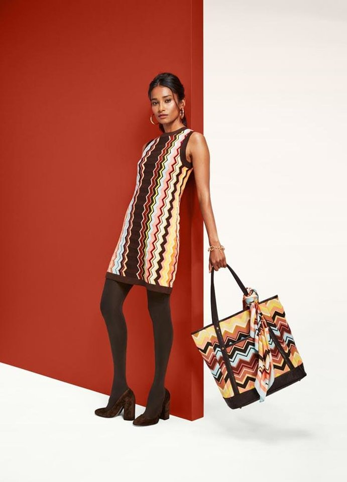 Photo - Missoni for Target zig-zag sleeveless sweater dress, $55, zig-zag silk scarf, $20 and large tote bag, $35.