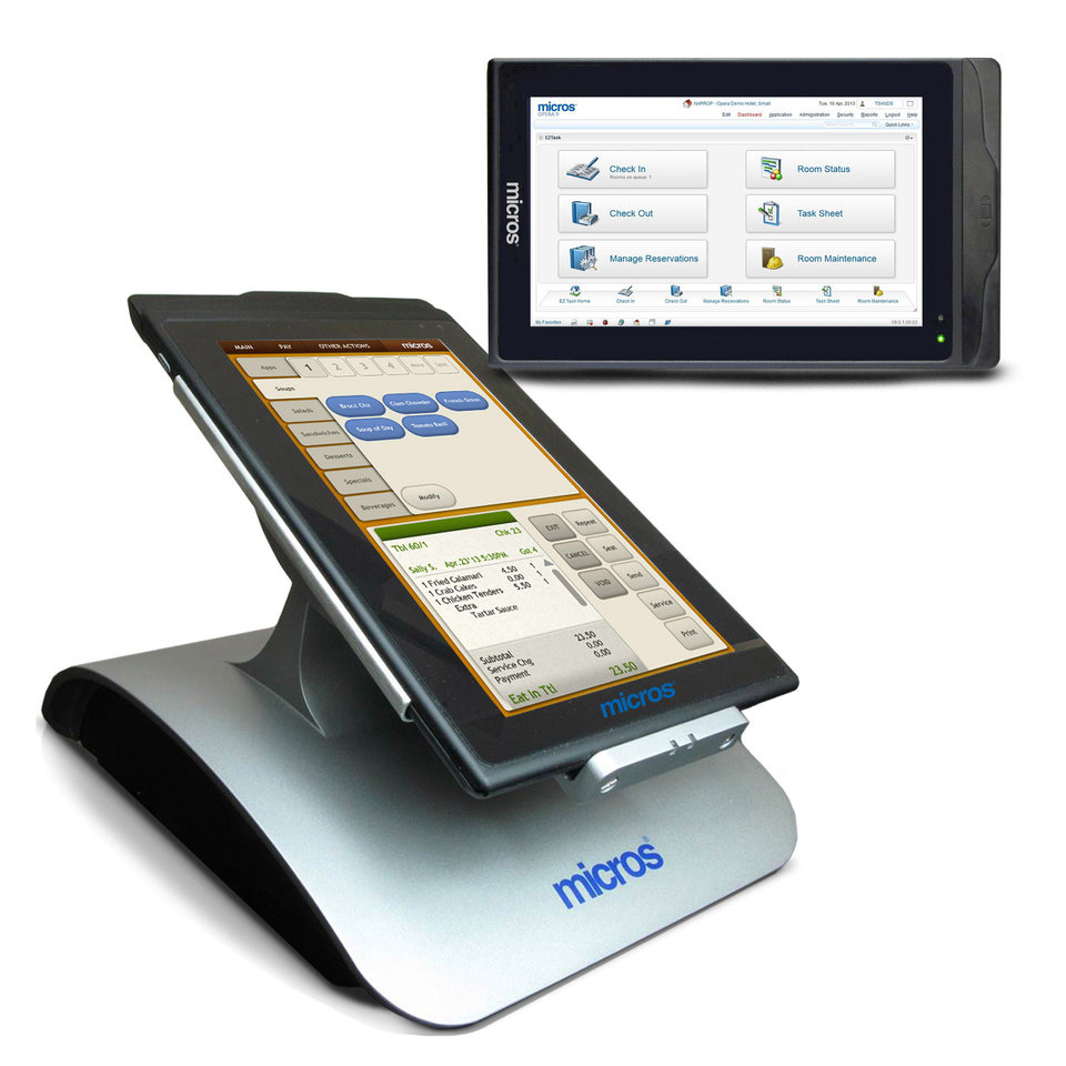Photo - This product image provided by Micros Systems Inc. shows the company's mStation and mTablet devices. Software maker Oracle is buying Micros Systems Inc., which provides software and hardware to the hospitality and retail industries, for about $5.3 billion, the companies announced Monday, July 23, 2014. (AP Photo/Micros Systems Inc.)