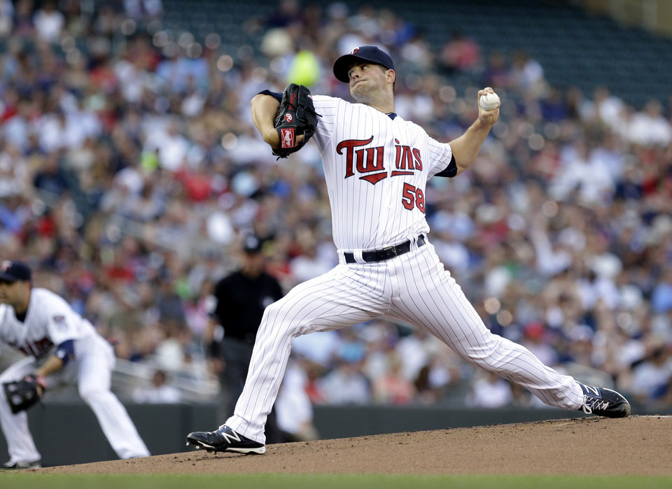 Photo - Minnesota Twins pitcher Scott Diamond throws against the New York Yankees in the first inning of a baseball game, Monday, July 1, 2013, in Minneapolis. (AP Photo/Jim Mone)