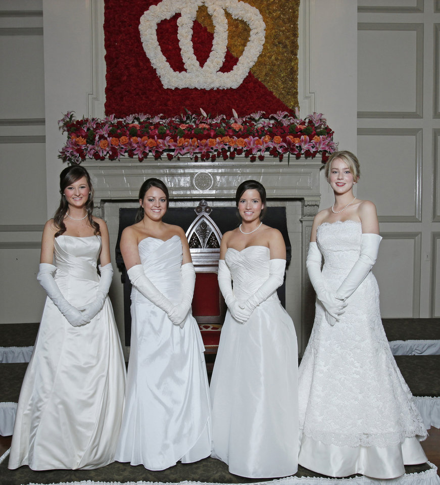 Debutantes, from left, Kelly Eileen Anthony, Madeline Stirling McCubbin, Blair Addison Bookman and Eleanor Duncan Covington at Oklahoma City Golf and Country Club Saturday, Nov. 28, 2009. Photo by Doug Hoke, The Oklahoma