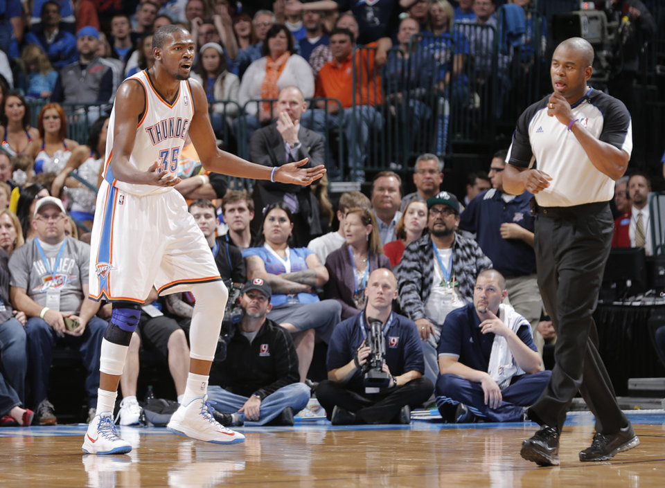 Oklahoma City's Kevin Durant (35) reacts after being called for a foul during the NBA basketball game between the Oklahoma City Thunder and the Memphis Grizzlies at Chesapeake Energy Arena on Wednesday, Nov. 14, 2012, in Oklahoma City, Okla.   Photo by Chris Landsberger, The Oklahoman