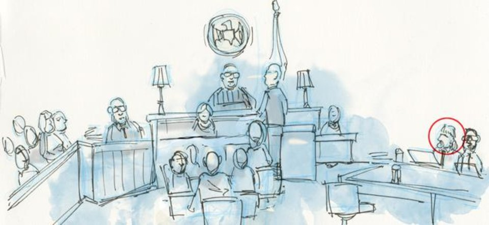 Photo -  [Courtroom sketch by Todd Pendleton/The Oklahoman]