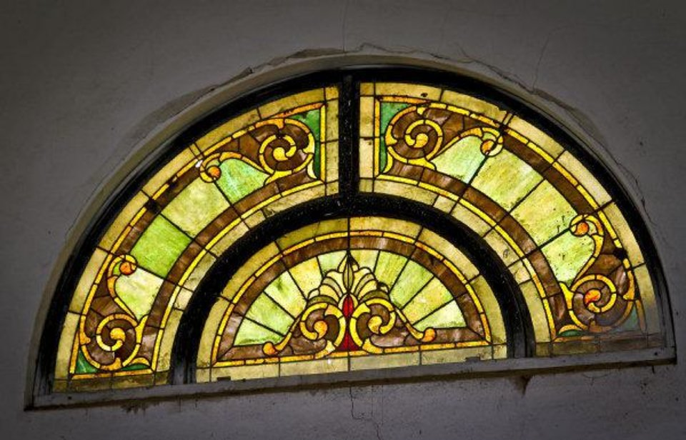Photo - Old stained glass inside the chapel at Chapel Creek Winery in El Reno. Photo by Chris Landsberger, The Oklahoman  CHRIS LANDSBERGER