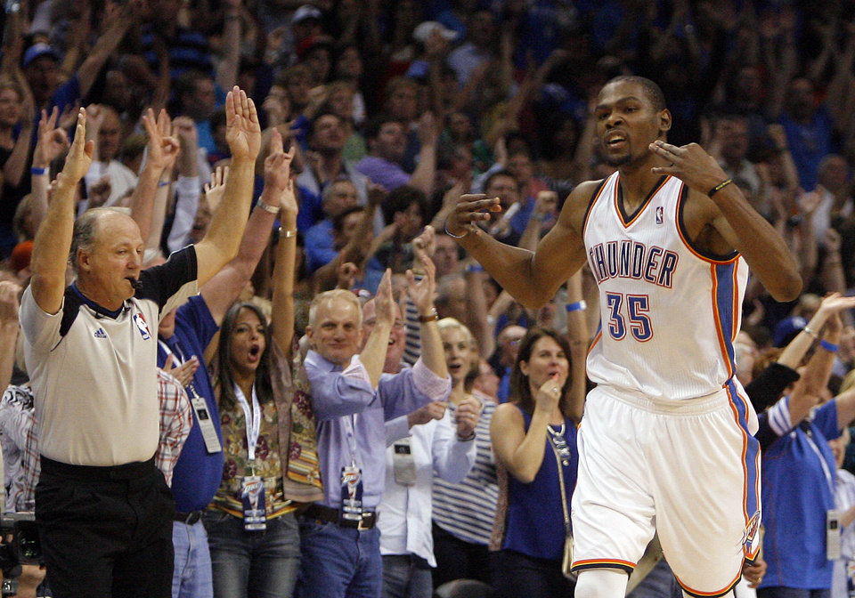 Oklahoma City's Kevin Durant (35) celebrates a three-point shot during the NBA basketball game between the Miami Heat and the Oklahoma City Thunder at Chesapeake Energy Arena in Oklahoma City, Sunday, March 25, 2012. Photo by Sarah Phipps The Oklahoman