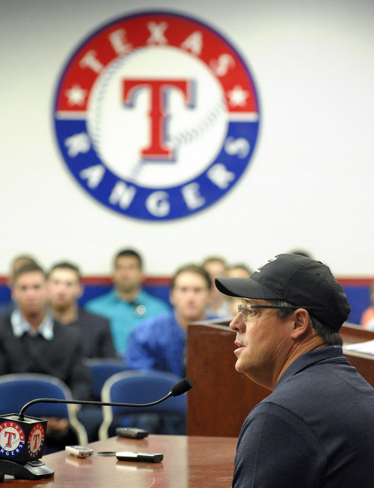 Photo - Texas Rangers special assistant Greg Maddux talks about his election to the Baseball Hall of Fame during a news conference Thursday, Jan. 23, 2014, in in Arlington, Texas. (AP Photo/The Fort Worth Star-Telegram,Max Faulkner) MAGS OUT; (FORT WORTH WEEKLY, 360 WEST); INTERNET OUT