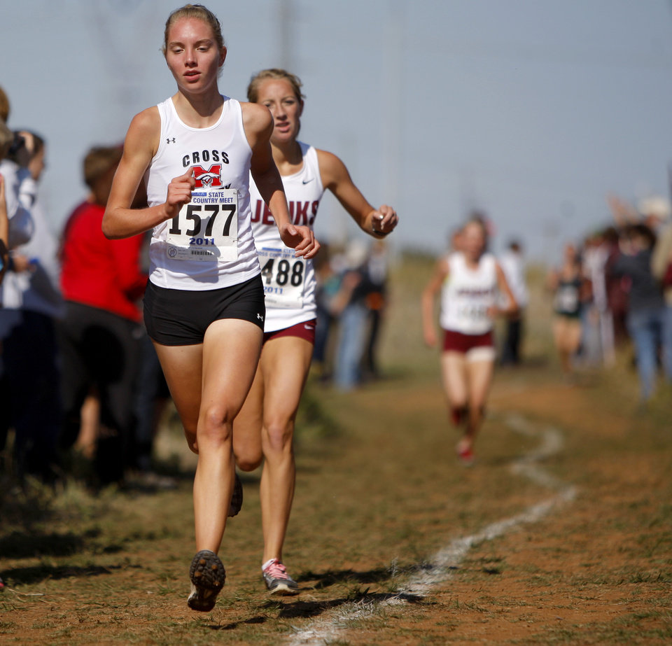 Mustang's Emily Helms runs during the finish as she wins the Class 6A girls cross country meet at Mitch Park in Edmond, Okla., Saturday, Oct. 29, 2011. Photo by Bryan Terry, The Oklahoman