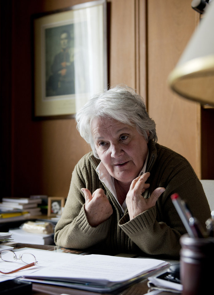 In this Aug. 26, 2013 photo, ruling party Sen. Lucia Topolansky speaks during an interview in her office in Montevideo, Uruguay. Final Senate approval of Uruguay's marijuana law is expected by late September, and the government plans to license growers, sellers and users as quickly as possible thereafter to protect them from criminal drug traffickers, said Topolansky, who is also Uruguay's first lady. (AP Photo/Matilde Campodonico)