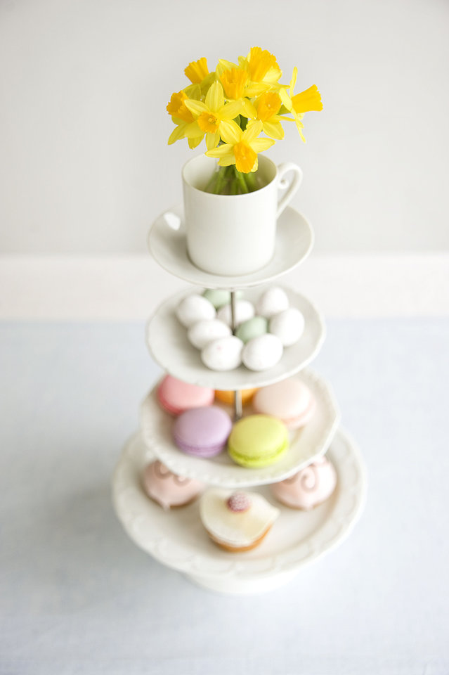 Photo - Top off a tiered pastry holder with a bright sunny yellow bloom for a pop of color. Photo provided by iBulb.  Jeannine Govaers