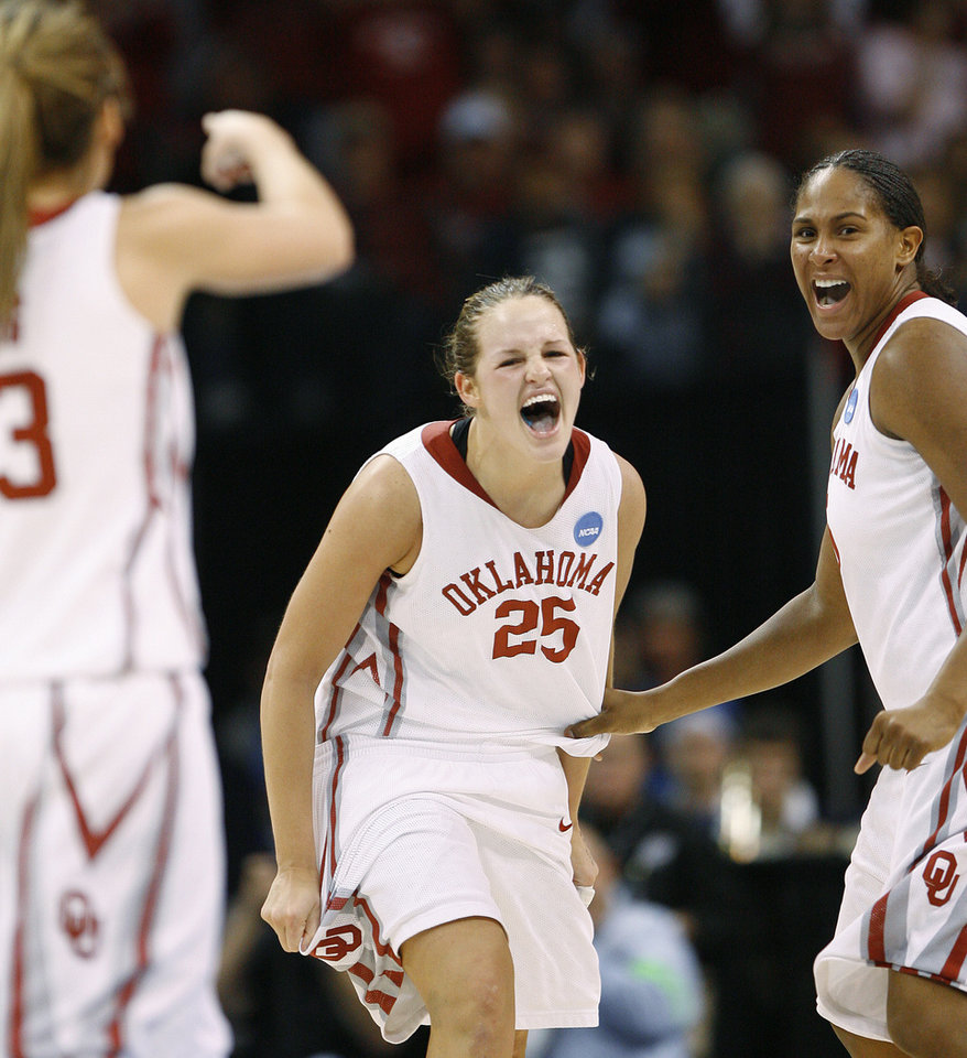 Photo - OU / UNIVERSITY OF OKLAHOMA / NCAA TOURNAMENT / SWEET SIXTEEN / SWEET 16 / CELEBRATION: OU's Whitney Hand celebrates next to Ashley Paris during the NCAA women's college basketball tournament game between Oklahoma and Pittsburgh at the Ford Center in Oklahoma City, Sunday, March 29, 2009.  PHOTO BY BRYAN TERRY, THE OKLAHOMAN ORG XMIT: KOD