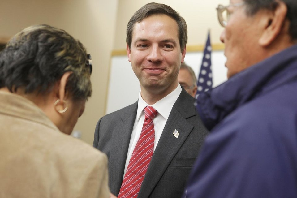 In this Oct. 12, 2012 file photo Democrat Matt Varilek, candidate for the U.S. House, visits with supporters after a debate in Rapid City, S.D. Varilek is running against Republican Kristi Noem for South Dakota\'s lone U.S. House seat. (AP Photo, Kristina Barker)