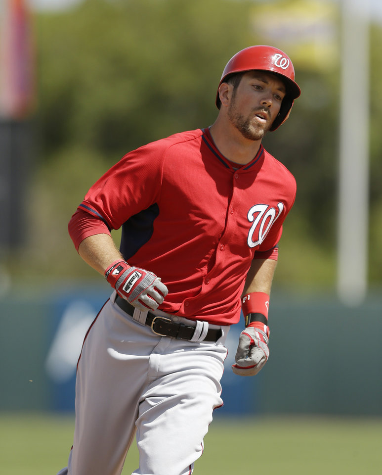Photo - Washington Nationals shortstop Steven Souza rounds third base after his second home run of the game during the fourth inning of a spring exhibition baseball game against the Houston Astros in Kissimmee, Fla., Sunday, March 16, 2014. (AP Photo/Carlos Osorio)