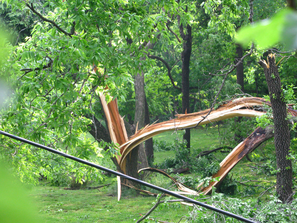 The storm snapped a tree and knocked down the powerline in the foreground in the Hidden Valley addition west of Bryant and north of 33rd in southeast Edmond. PHOTO BY LILLIE-BETH BRINKMAN, THE OKLAHOMAN <strong></strong>